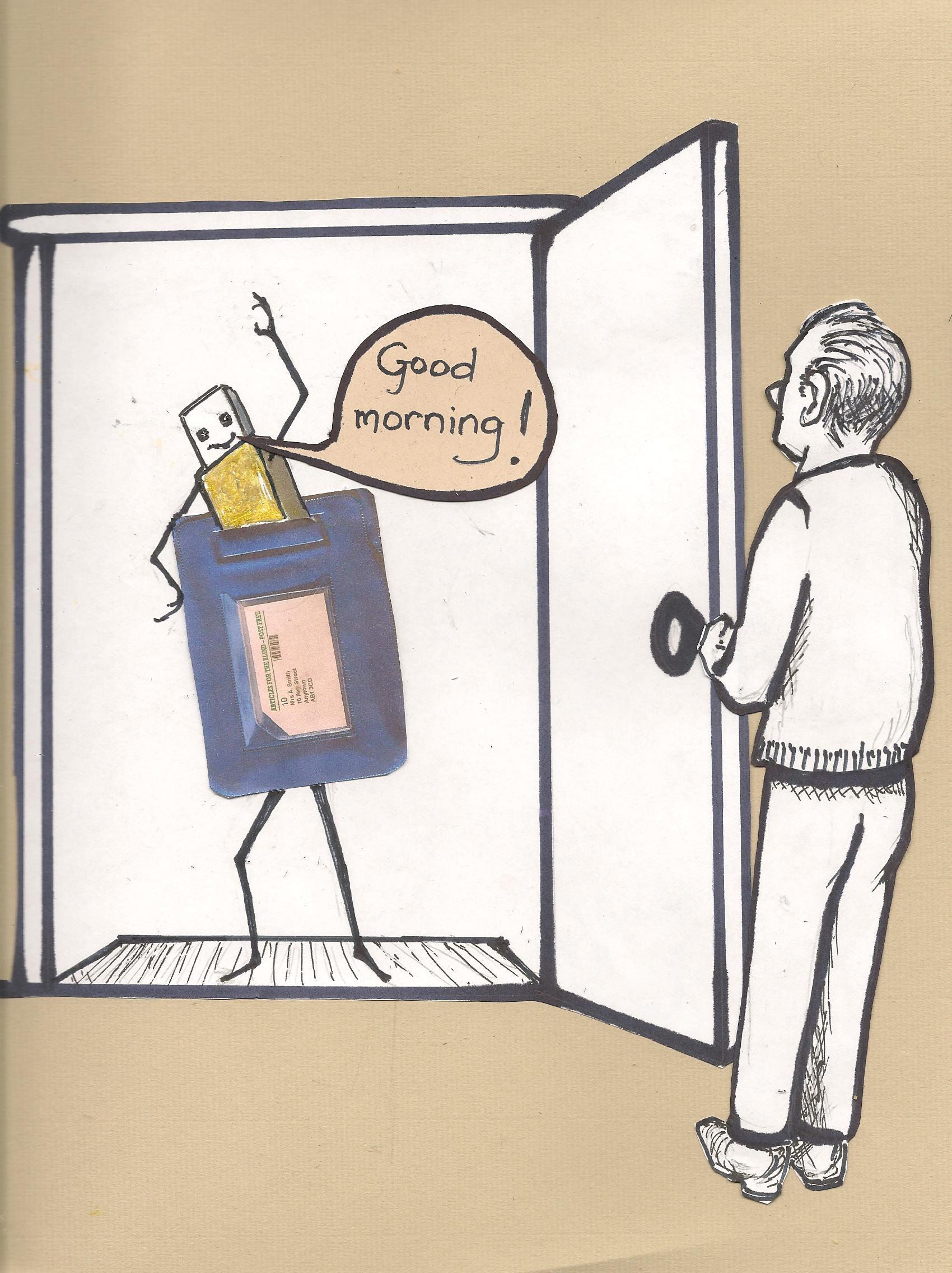 A cartoon memory stick announces its arrival with a cheery 'Good Morning' at the door of a Listener.