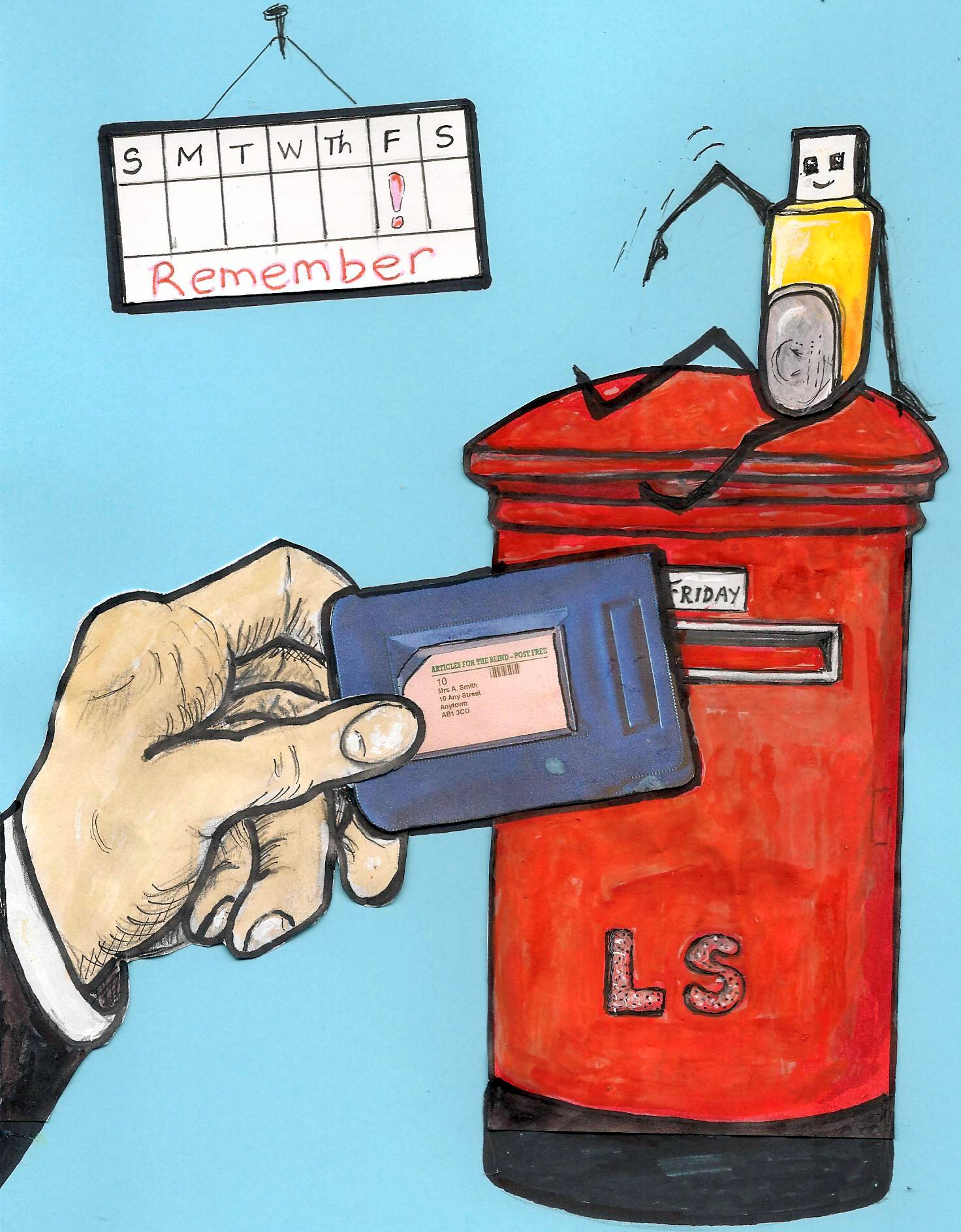 A cartoon memory stick sits jauntily atop a postbox, reminding us to return sticks in pouches on a Friday.